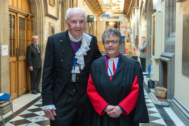 The new Moderator of the General Assembly, the Rt Rev Susan Brown, with her predecessor as Moderator and minister of Dornoch Cathedral, the Very Rev Dr James Simpson