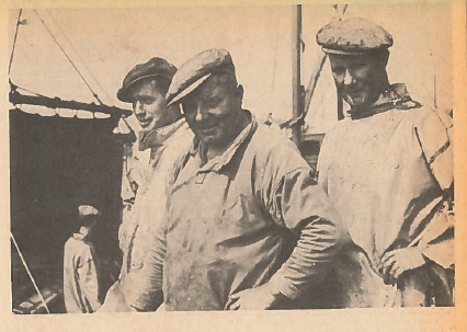 Gardenstown men after unloading their catch at Fraserburgh. Picture by Tom Weir