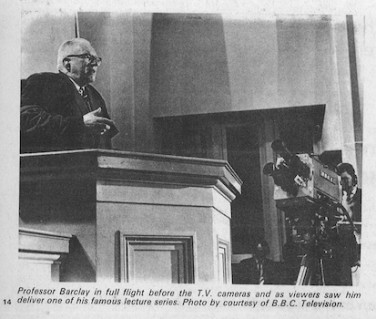 William Barclay in a pulpit, filmed by a BBC cameraman