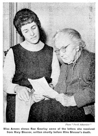 Miss Amess shows Rae Gourlay some of the letters she received from Mary Slessor, written shortly before Miss Slessor's death